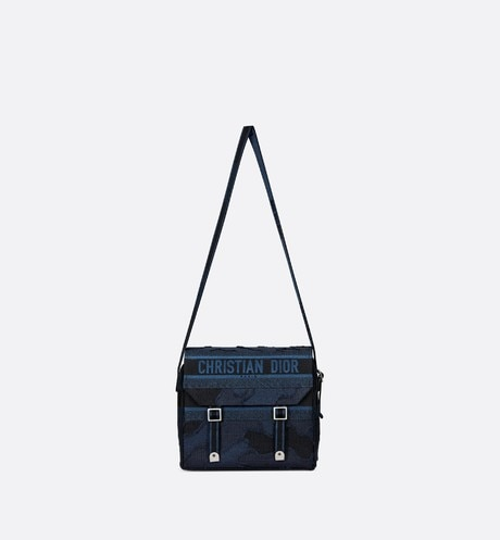 Blue Diorcamp Camouflage Embroidered Canvas Messenger Bag aria_unfoldedView