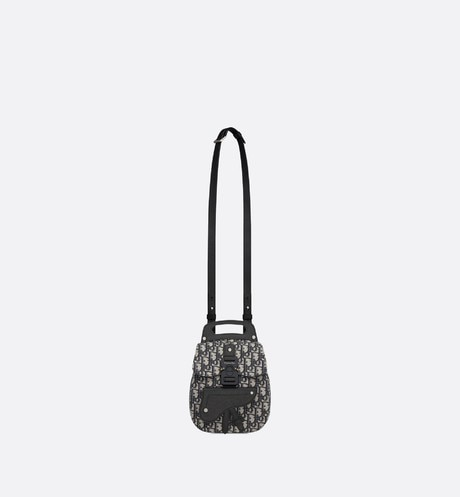 Navy Blue Dior Oblique Jacquard Mini Saddle Backpack aria_unfoldedView
