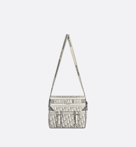 Gray Diorcamp Embroidered Messenger Bag with Dior Oblique Motif aria_unfoldedView