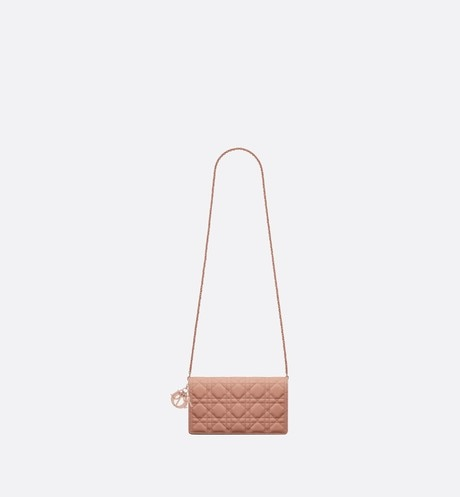 Blush Lady Dior Calfskin Chain Pouch unfolded view