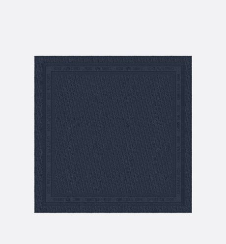 Navy Blue New Dior Oblique Wool-Blend Jacquard Shawl aria_unfoldedView