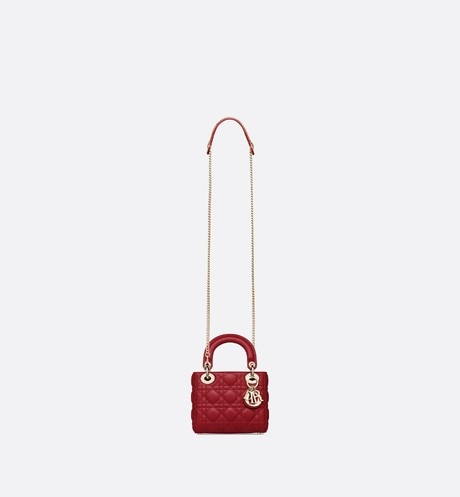 Cherry Red Lady Dior Mini Lambskin Chain Bag aria_unfoldedView
