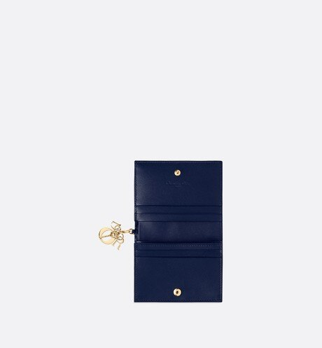 Lady Dior wallet in blue calfskin aria_unfoldedView