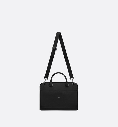 Black Grained Calfskin Briefcase unfolded view