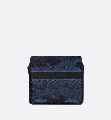 Blue Diorcamp Camouflage Embroidered Canvas Messenger Bag aria_backView