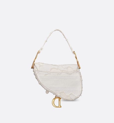 White Saddle Camouflage Embroidered Canvas Bag aria_backView