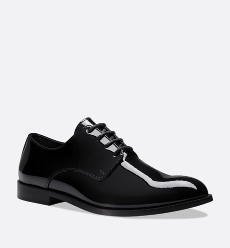 Derby shoes in black patent calfskin leather aria_backView