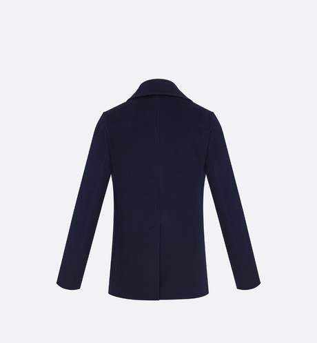 Double-breasted Peacoat, navy blue cashmere back view