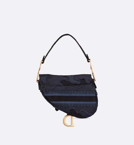 Blue Saddle Camouflage Embroidered Canvas Bag aria_backView