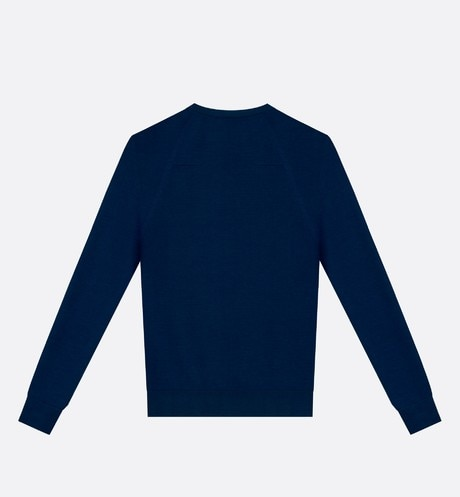 Round neck sweater, zip at the shoulder, blue wool back view