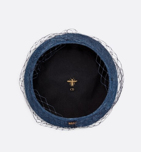 Denim beret with veil aria_backView