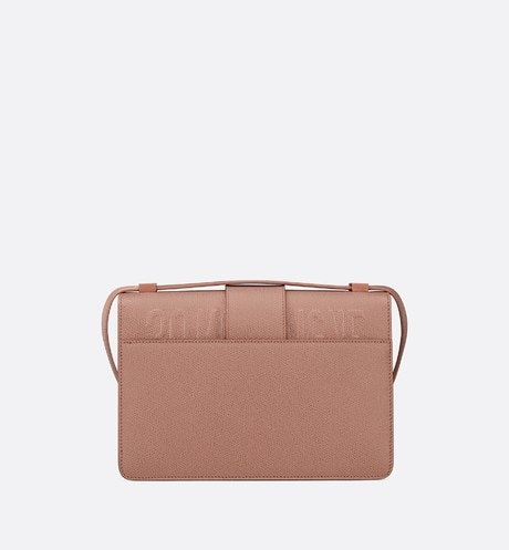 Matte Blush 30 Montaigne Stamped Grain Calfskin Flap Bag aria_backView