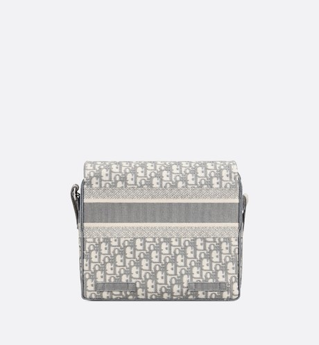 Gray Diorcamp Embroidered Messenger Bag with Dior Oblique Motif aria_backView