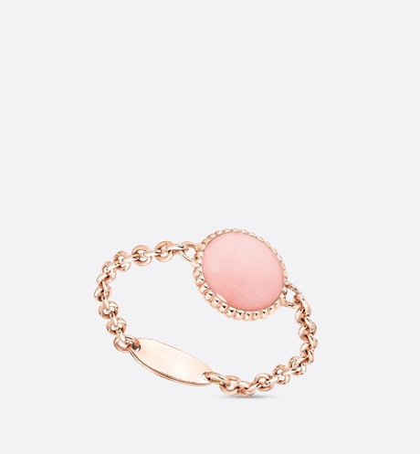 Rose des vents XS ring, 18K pink gold, diamond and pink opal aria_backView