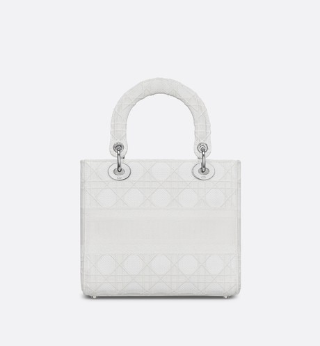 Medium White Lady D-Lite Embroidered Cannage Bag aria_backView