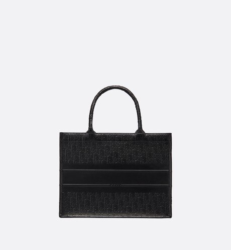 Small Black Embossed Calfskin Dior Book Tote back view