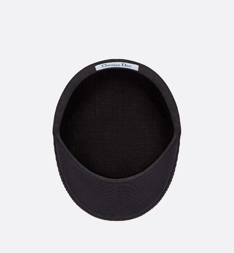Black Dior Cotton Baker Boy Cap aria_backView