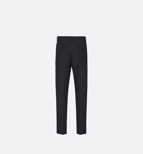 Black Virgin Wool Twill Pants with Elasticated Waist back view