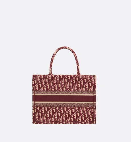 Small Burgundy Dior Oblique Embroidered Dior Book Tote aria_backView