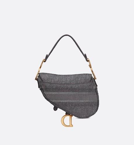 Gray Saddle Denim Bag with Dior Oblique Embroidery back view