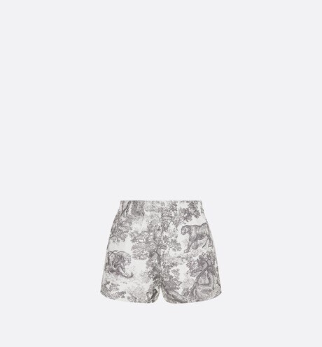 Gray Toile de Jouy Technical Taffeta Shorts aria_backView