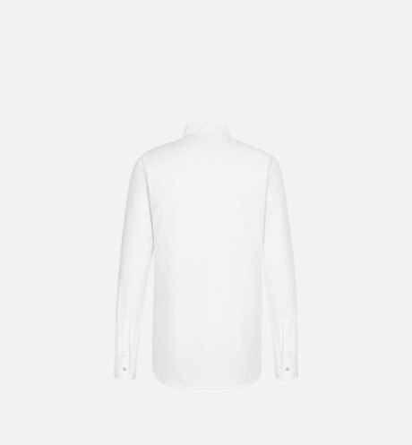 White Dior Oblique Cotton Jacquard Dress Shirt back view