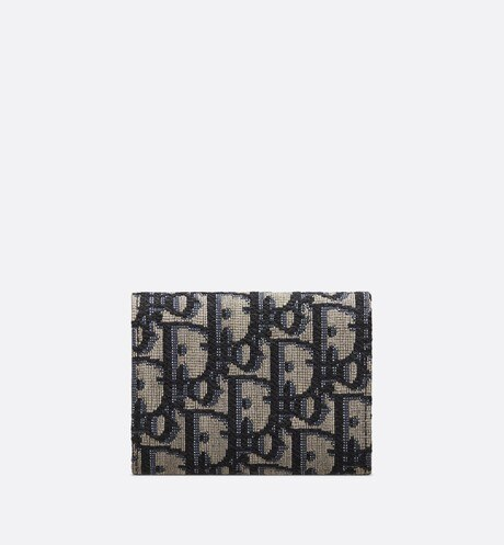 Beige and Black Dior Oblique Jacquard Compact Wallet back view