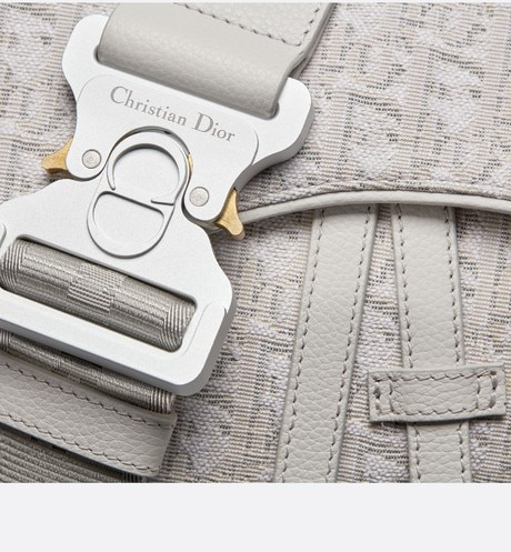 Beige Dior Oblique Jacquard Saddle Bag aria_detailedView