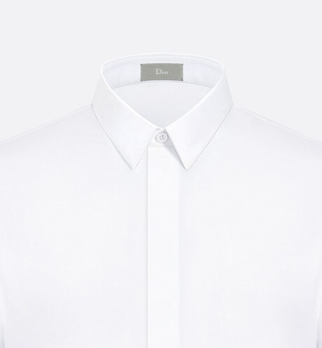 White Cotton Poplin Dress Shirt with Bee Emblem aria_detailedView