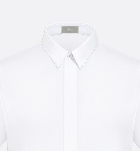 White Cotton Poplin Short Sleeve Shirt with Bee Emblem aria_detailedView