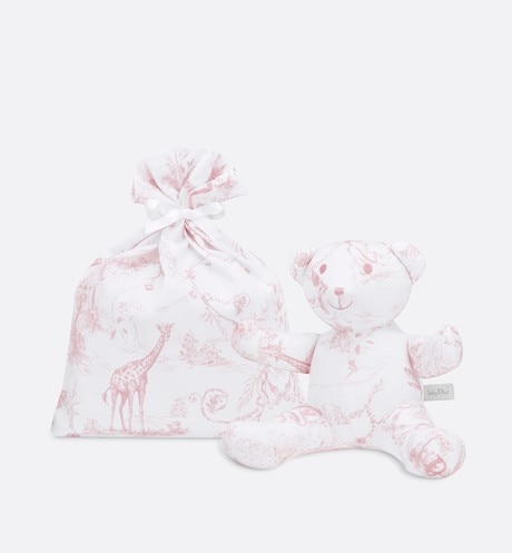 Cotton satin 'Toile de Jouy' print teddy bear aria_detailedView