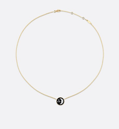 Rose Céleste necklace, 18K yellow and white gold, diamond, onyx and mother-of-pearl detailed view