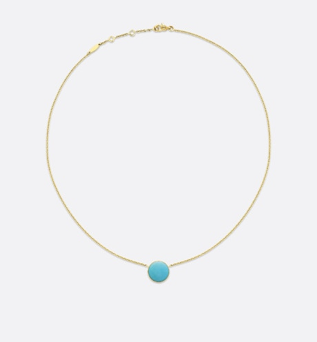 Rose des vents necklace, 18k yellow gold, diamond and turquoise aria_detailedView