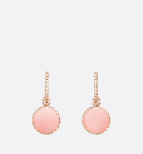 Rose des vents earrings, 18k pink gold, diamonds and pink opal detailed view