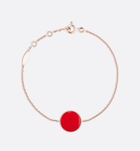 Rose des vents bracelet, 18k pink gold, diamond and red lacquered ceramic detailed view