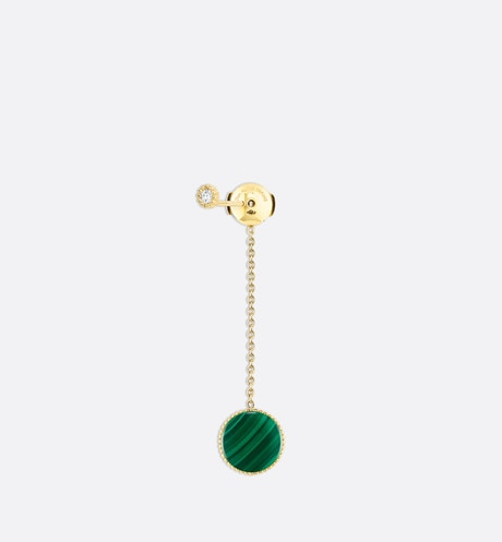 Boucle d'oreille Rose des vents, or jaune 750/1000e, diamants et malachite Vue de face