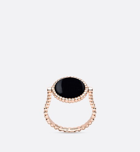 Rose des vents ring, 18k pink gold, diamond and onyx aria_detailedView
