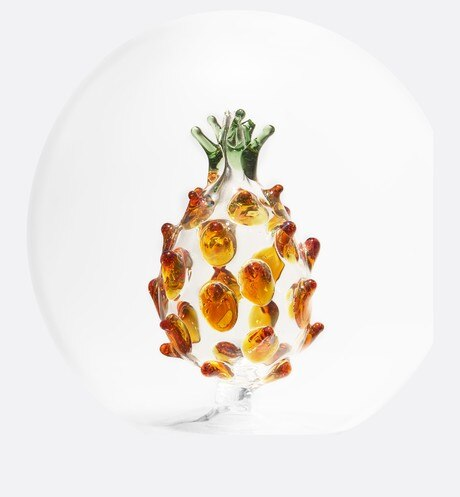 Small Decorative Glass Ball with Ochre and Green Pineapple detailed view Open gallery