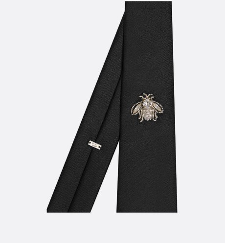 Black Silk Tie with Embroidered Bee Jewel detailed view