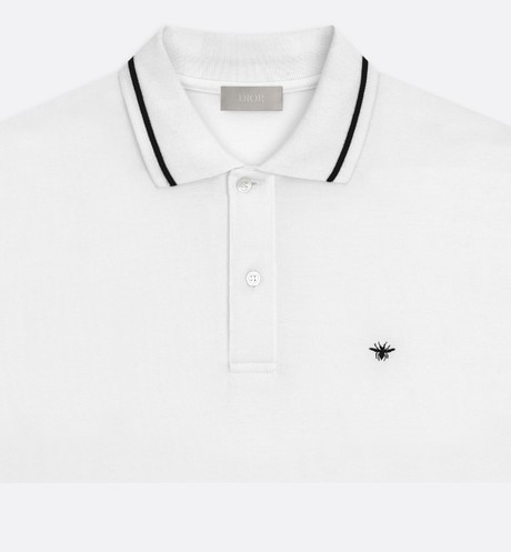 White Cotton Piqué Polo Shirt with Bee Emblem detailed view