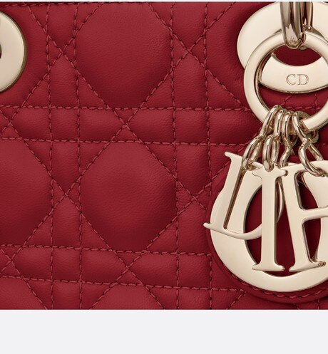 Cherry Red Lady Dior Mini Lambskin Chain Bag aria_detailedView