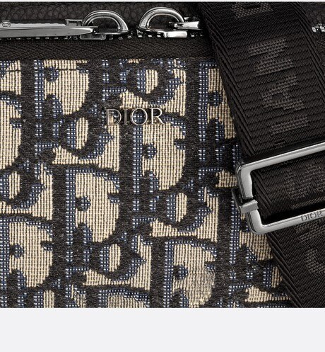 Beige and Black Dior Oblique Jacquard Pouch detailed view