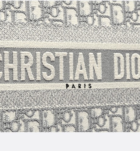 'Dior Book' Tote Bag aus Dior Oblique-Stoff mit Stickerei in Grau aria_detailedView