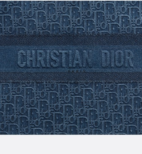 Blue Dior Oblique Embroidered Denim Dior Book Tote aria_detailedView