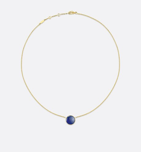 Rose des vents necklace, 18k yellow gold, diamond and lapis lazuli aria_detailedView