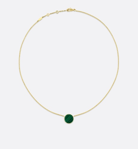 Rose des vents necklace, 18k yellow gold, diamond and malachite aria_detailedView